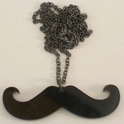 Black Mustache Necklace Silly & Fun Made of Plastic 2-1/2