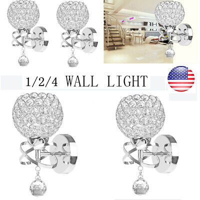 Polished Chrome Clear Crystal Pendant LED Bath Vanity Wall Light Fixtures lamp Polished Chrome Wall