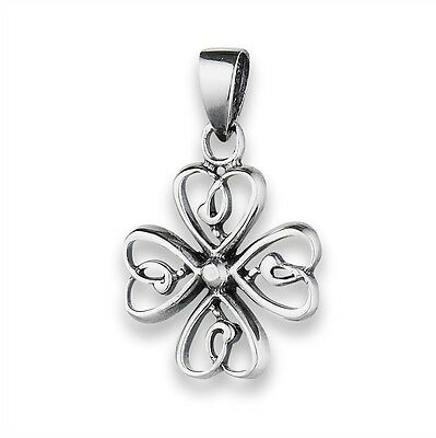 Sterling Silver Irish Celtic Loopy 4-Leaf Clover Lucky Pendant 925 Charm Jewelry