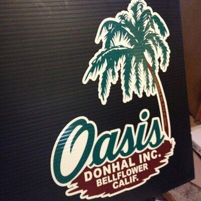 Oasis Vintage Travel Trailer Decal Donhal Inc, Bellflower, Calif. set of 2