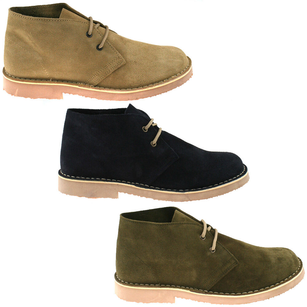 MENS ROAMERS SUEDE LEATHER DESERT BOOTS SIZE UK 3-15 CLASSIC ROUND TOE M400 KD