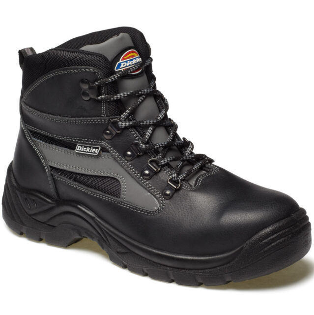 MENS DICKIES SEVERN SAFETY WORK BOOTS SIZE UK 4 - 14 FA23500 BLACK LEATHER