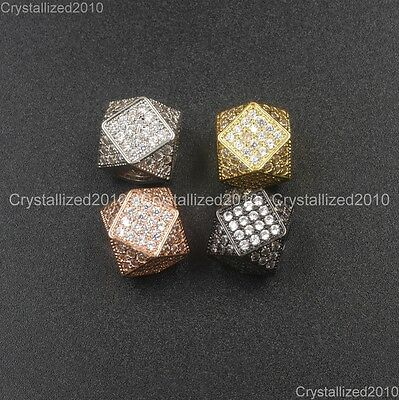 Pave Cube (CZ Zircon Gemstone Pave Polygon Cube Spacer Bracelet Connector Charm Beads 14mm )