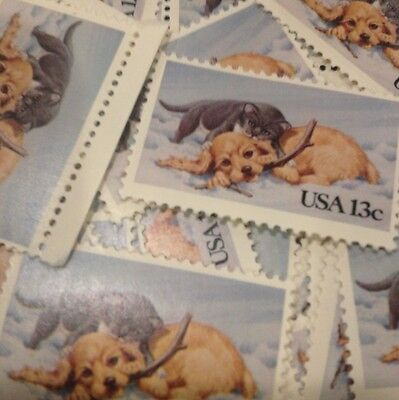 20 VINTAGE PUPPIES AND KITTEN STAMPS FOR HOLIDAY, WEDDING AND VALENTINE MAIL