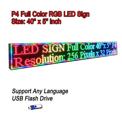 40x 5 Rgb Full Color P4 Led Sign Programmable Scrolling Message Display
