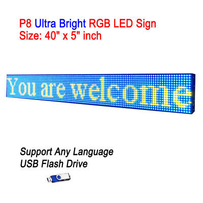 40x 5 P8 Full Color Semi Outdoor Led Sign Programmable Scrolling Message Board
