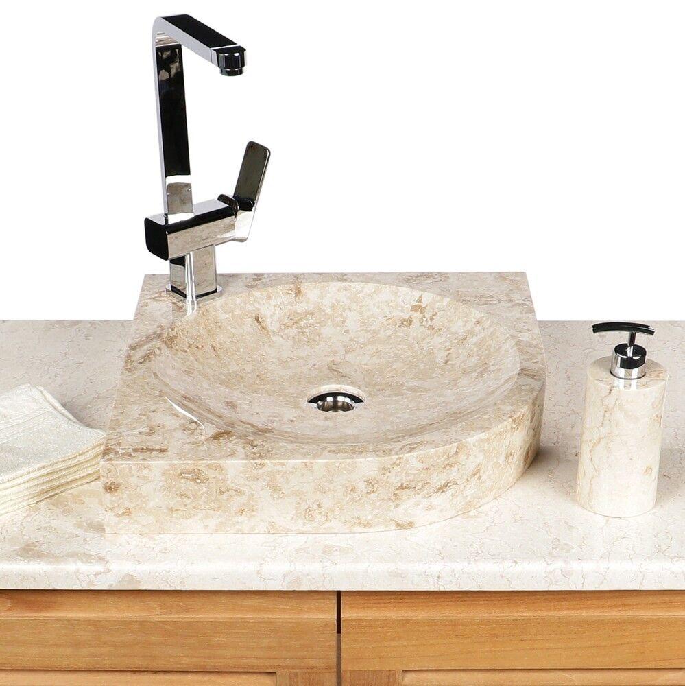 WOHNFREUDEN Marmor Naturstein-Waschbecken 48x38x12cm creme eckig Stein Gäste WC
