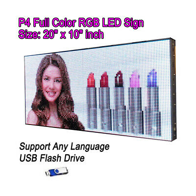 20x 10 P4 Full Color Video Hd Led Sign Programmable Scrolling Message Display