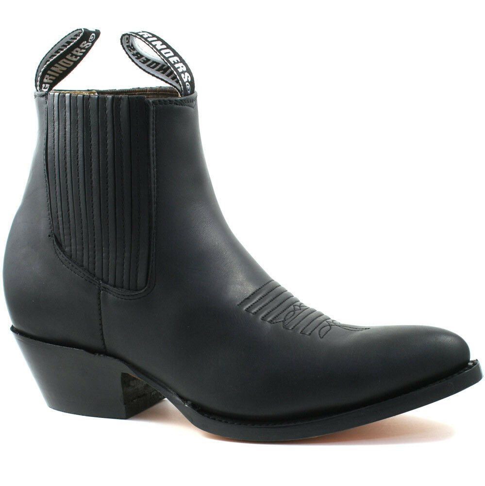 796e78ea804 Details about MENS GRINDERS MAVERICK BLACK LEATHER WESTERN ANKLE COWBOY  BOOTS