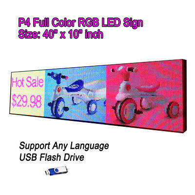 40x 10 P4 Full Color Video Hd Led Sign Programmable Scrolling Message Display