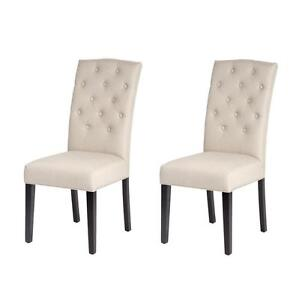 Set Of 2 Beige Fabric Contemporary Elegant Design Dining Chairs Home Room  B85