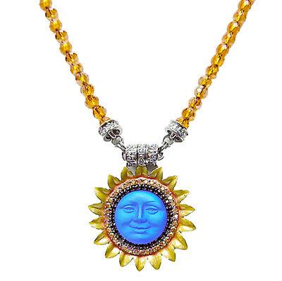 Kirks Folly SUNFLOWER SEAVIEW MOON MAGENETIC ENHANCER NECKLACE silvertone / blue