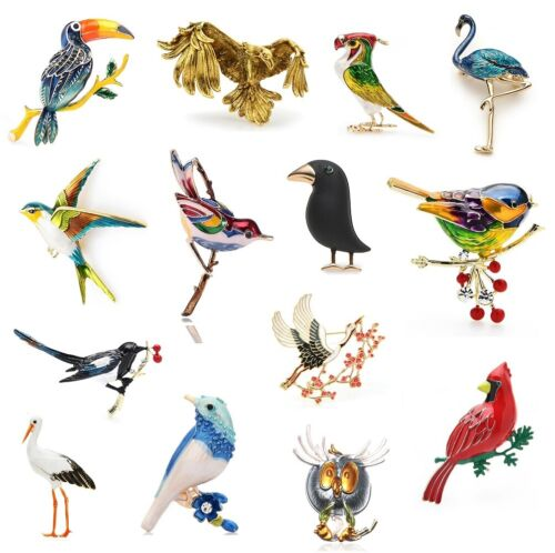Enamel Crystal Bird Brooches Animal Party Casual Pins Women Fashion Jewelry Gift
