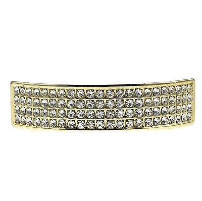 Iced Bling Hip Hop Grillz (Four Row Grillz Iced Bling 14k Gold Plated Top Teeth 4 Rows Hip Hop Grills)