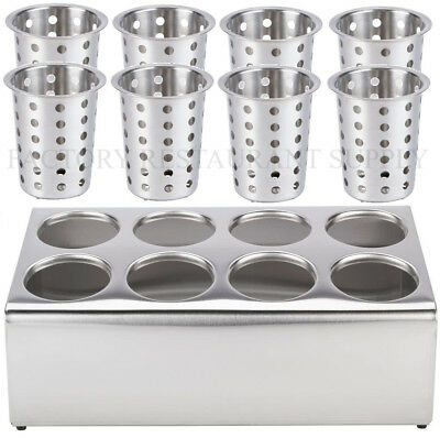 8 Hole Stainless Steel Flatware Holder With 8 Cylinder Commercial Silverware