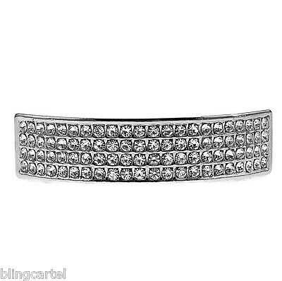 Iced Bling Hip Hop Grillz (Four Row Grillz Iced Silver Tone Top Bling Teeth 4 Rows Lines Hip Hop Grills)