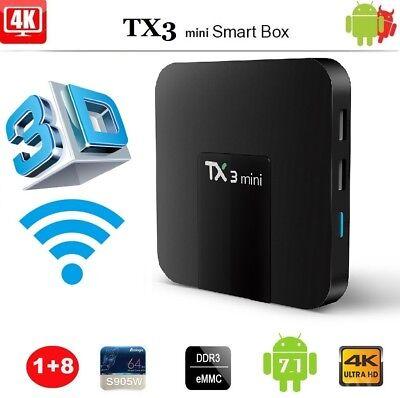 TX3 Mini Android 7.1 4K TV Box S905W 1G 8G 3D HD Wifi RJ45 Media Player U0H9N
