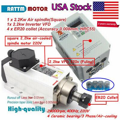 Uscnc Square 2.2kw Air Cooling Spindle Motor Er20 Fuling Vfd Inverter Collet