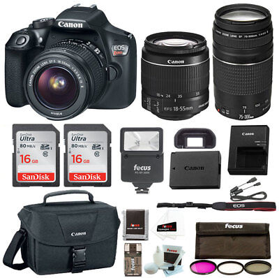 Canon Rebel T6 Dslr Camera W 18 55Mm   75 300Mm Lenses Premium Bundle   Us Model