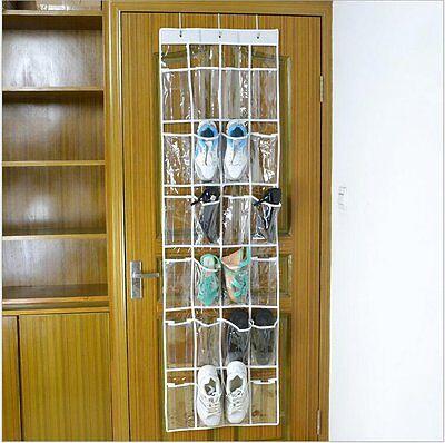 Clear 24 Pocket Over the Door Shoe Organizer Rack Hanging Storage Space Saver