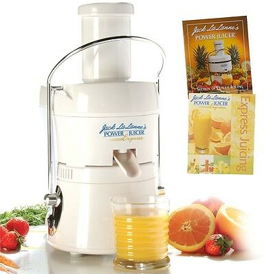 JACK LALANNE Packed POWER JUICER EXPRESS MT-1020 WITH 2 RECIPE BOOKS WHITE NEW
