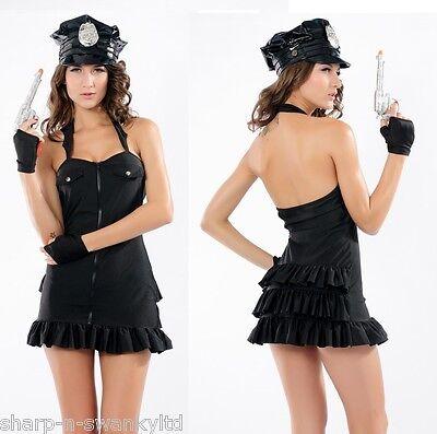 Damen Sexy Polizist Junggesellinnenabschied Halloween Kostüm Kleid Outfit