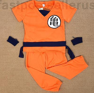 Boys Kids Children Costume Set Halloween Party Dress Up Outfit Fancy Goku (Kid Goku Kostüm)