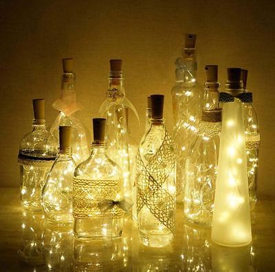6Pcs LED Lichterkette Flaschenlicht Draht Beleuchtung Nachlicht Kork Dekorative