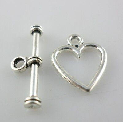 25Sets Tibetan Silver Love Heart Toggle Clasp Interface DIY Bracelet - Toggle Clasp