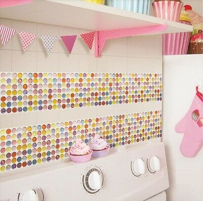 Home Bathroom Kitchen Wall Decor 3D Stickers Wallpaper Art Tile Color Backsplash