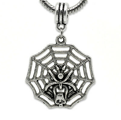Large Halloween Spider Web (Large Spider Web Skull Halloween Dangle Bead fits Silver European Charm)