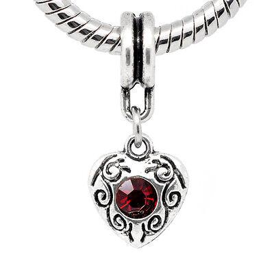 January Birthstone Heart Charm (Dark Red Rhinestone January Birthstone Heart Dangle Charm for European)