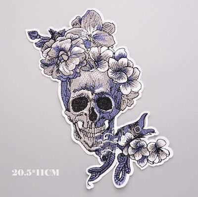 Skull Flower Embroidery Sew Iron on Patch Badge Applique Clothes DIY Accessories