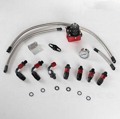 Adjustable Fuel Pressure Regulator Gauge Kit Fittings With Oil Line BLACK +RED G