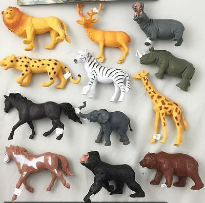 1 PACKAGE OF 6 Pieces assorted PLAY WILD ANIMALS toy animal lion monkey deer ect
