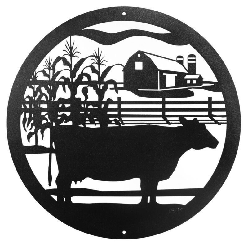 """SWEN Products FARM NON SPOTTED COW Steel 12"""" Scenic Art Wall Design"""