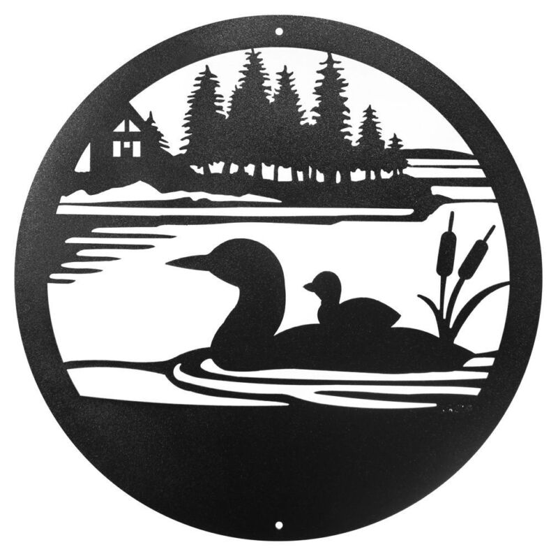 "SWEN Products LOON DUCK Steel 12"" Scenic Art Wall Design"