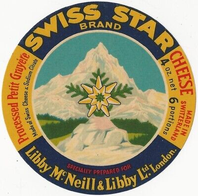 Vintage Swiss Star Gruyere Cheese Label - London Importer ()