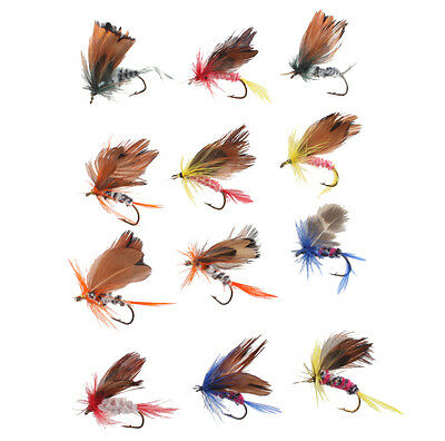 48PCS Assorted Trout Flies Fishing Fly DRY Wet HOOK set Fish Lures Crankbaits
