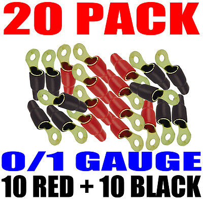 "20 Pack 1/0 Gauge Wire Cable Ring Terminals Connectors Red and Black Boots 5/16"" on Rummage"