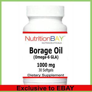 Borage Oil, Omega-6 Fatty Acid, Gamma Linolenic Acid (GLA), 1000 mg, 30 Softgels