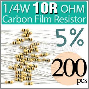 200-pcs-Carbon-Film-Resistors-1-4W-0-25W-0-25-Watt-10ROhm-10-R-10R-Ohm-5