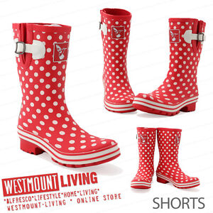 NEW LADIES QUALITY DURABLE RUBBER WEATHERPROOF PRINTED WELLINGTON RAIN BOOTS