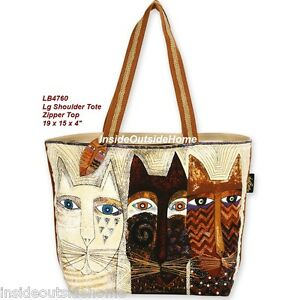 Laurel-Burch-Kitty-Cats-Large-Shoulder-Tote-Bag-Ancestral-Native-NEW-4760