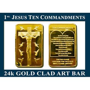 1-TROY-OZ-JESUS-TEN-COMMANDMENTS-GOLD-CLAD-24k-ART-BAR-WIN-NOW-COLLECT