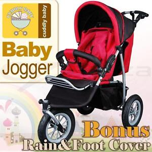 New Cuddly Baby Kid Jogger Stroller Pram Buggy 3 Wheel Ruby Red with Rain Cover
