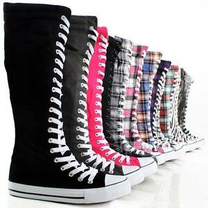 Canvas-Sneakers-Ladies-Flat-Tall-Punk-Womens-Skate-Shoes-Lace-Up-Knee-High-Boots