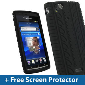 Black-Silicone-Tyre-Skin-for-Sony-Ericsson-Xperia-Arc-S-Android-Case-Cover