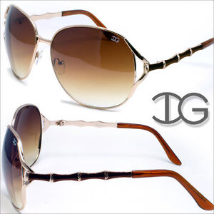 Womens-Designer-New-Sunglasses-Large-Lens-Bamboo-Black-White-Gold-IG9036-multi
