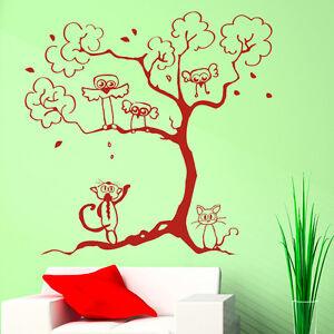 10257-wandtattoo-loft-Adesivo-per-parete-gatti-albero-uccelli-foglie